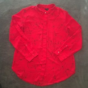 Mossimo Sz Large Red Scribble Print Button Up